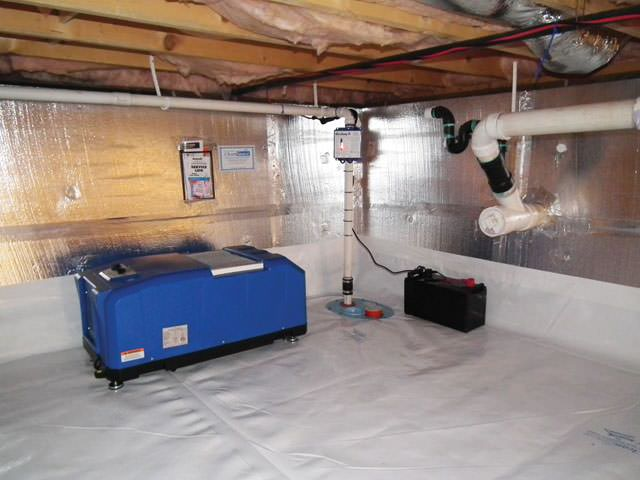A Crawl E Sump Pump Liner And Dehumidifier Installed